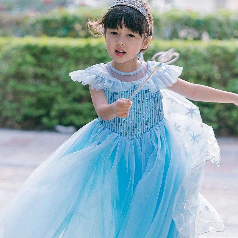 Combo Váy Elsa Cho Bé Gái Kèm Tà Tạo Hình Hoa Tuyết Kèm (Gậy + Vương Miện + Đuôi Tóc) - HMD56