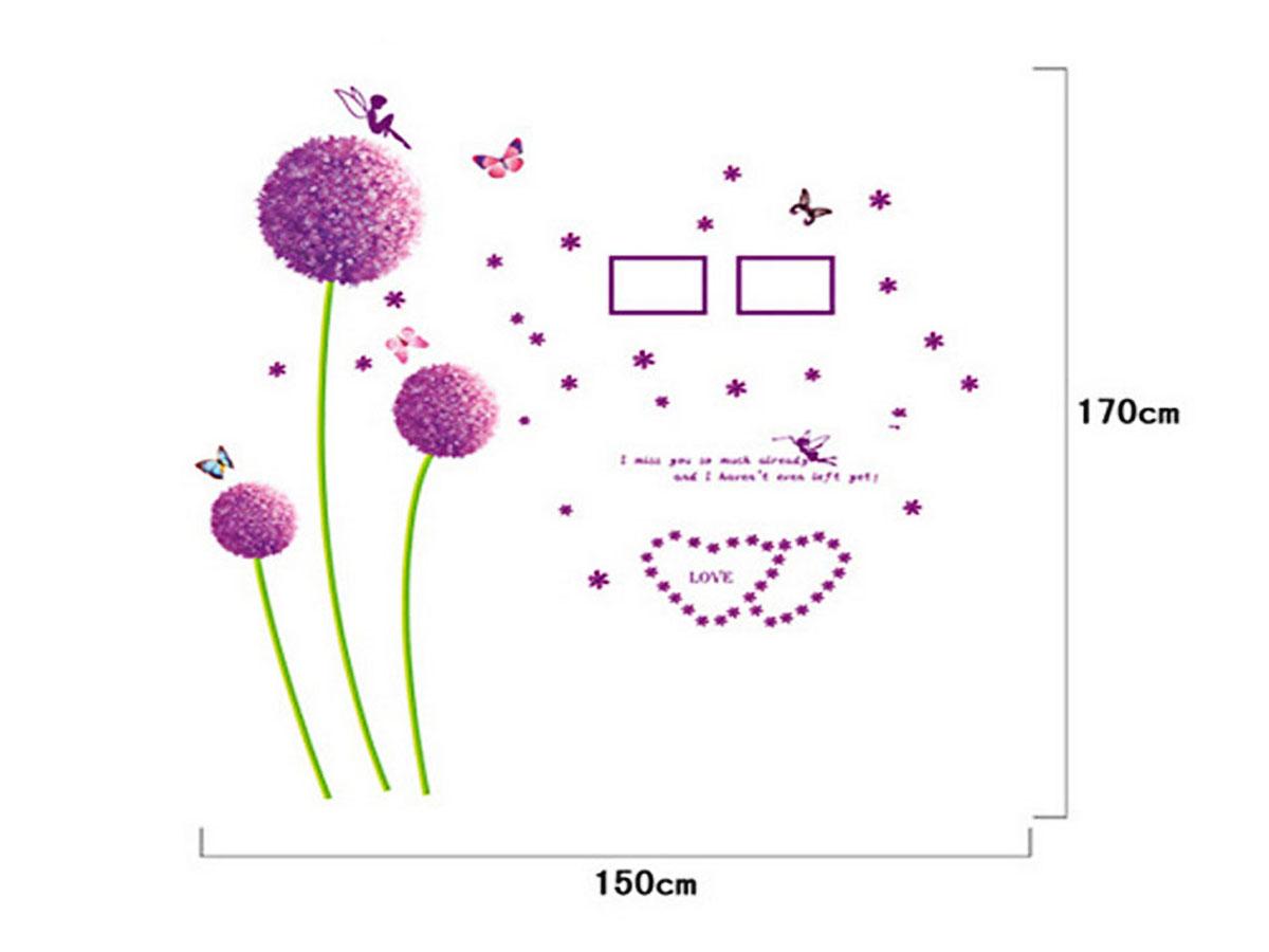 decal dán tường hoa bồ công anh hồng xl8010