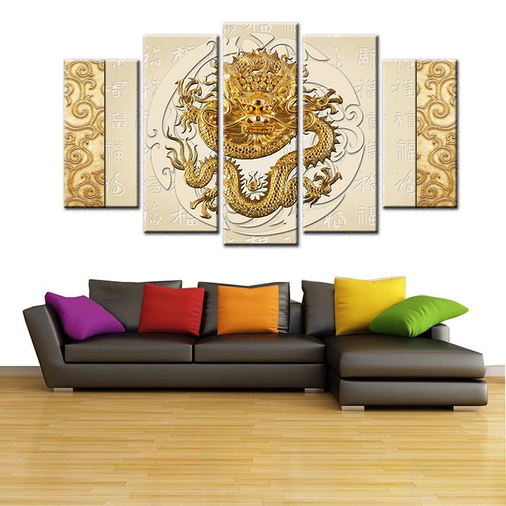 Tranh treo tường, tranh trang trí PP_ NT469 bộ 5 tấm ghép Rồng phong thuỷ