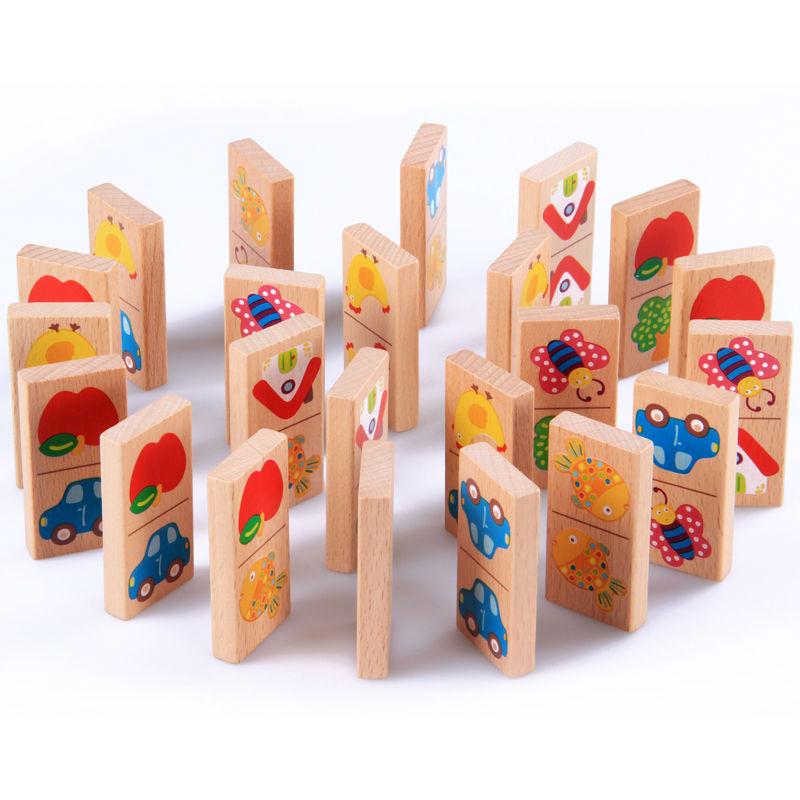 Domino vườn hoa 28 thanh tìm đôi quan sát so sánh đồ chơi gỗ cho bé