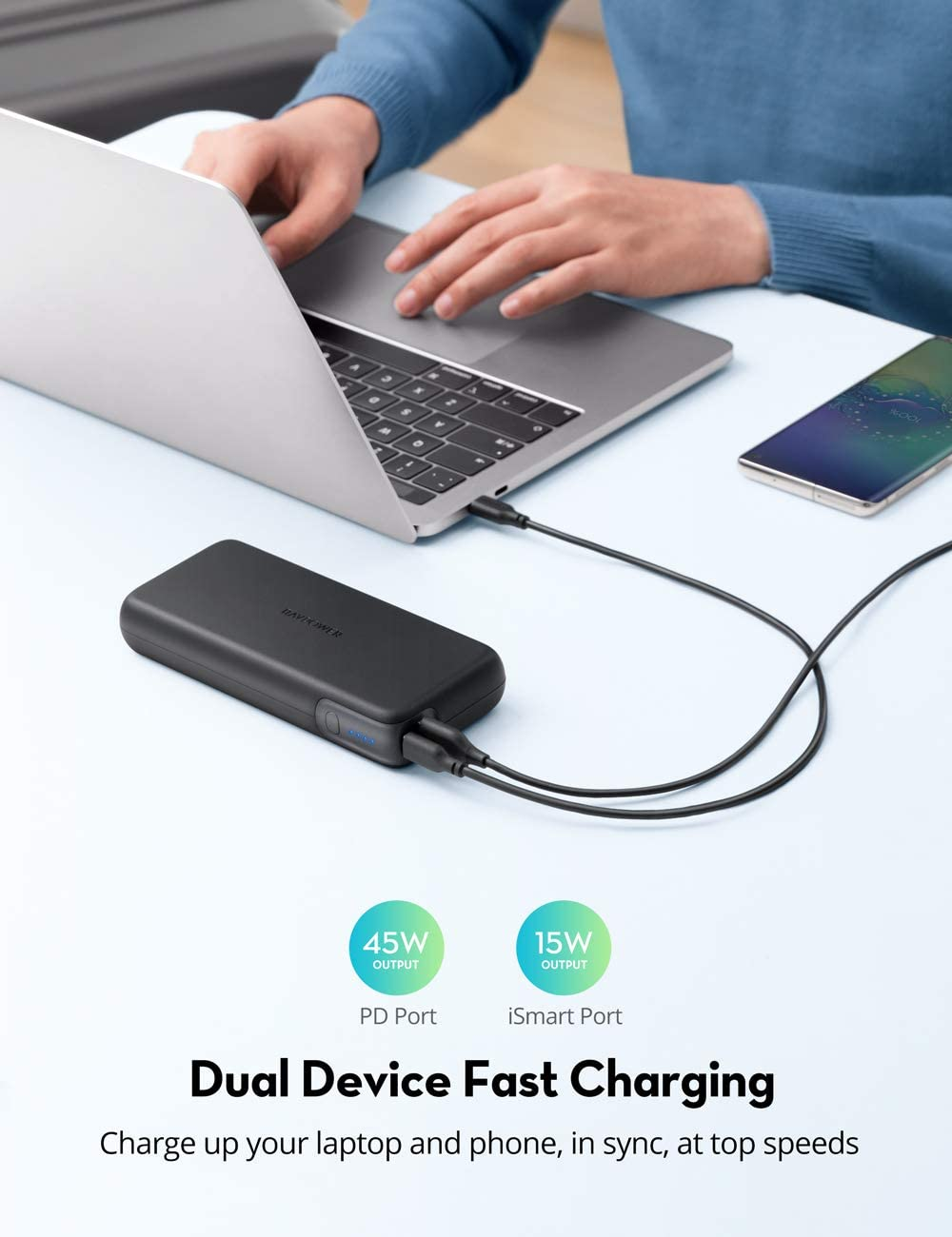 Pin Sạc Dự Phòng RAVPower 20000mAh Quick Charge 3.0 + PD 60W, In/Out Type-C, Sạc Được Macbook - RP-PB201 - Hàng Chính Hãng