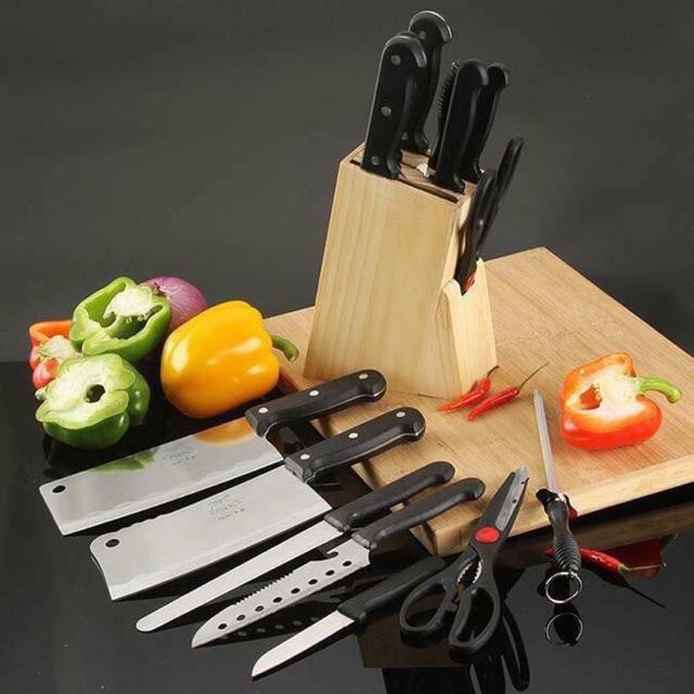 Bộ dao làm bếp 7 món có hộp đựng bằng gỗ