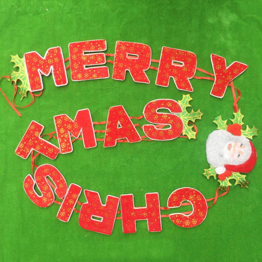Bộ dây chữ nhung Merry Christmas trang trí giáng sinh