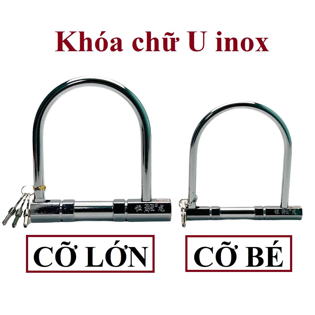 Khóa xe máy chữ U inox chống trộm size nhỏ - Bảo vệ xe an toàn