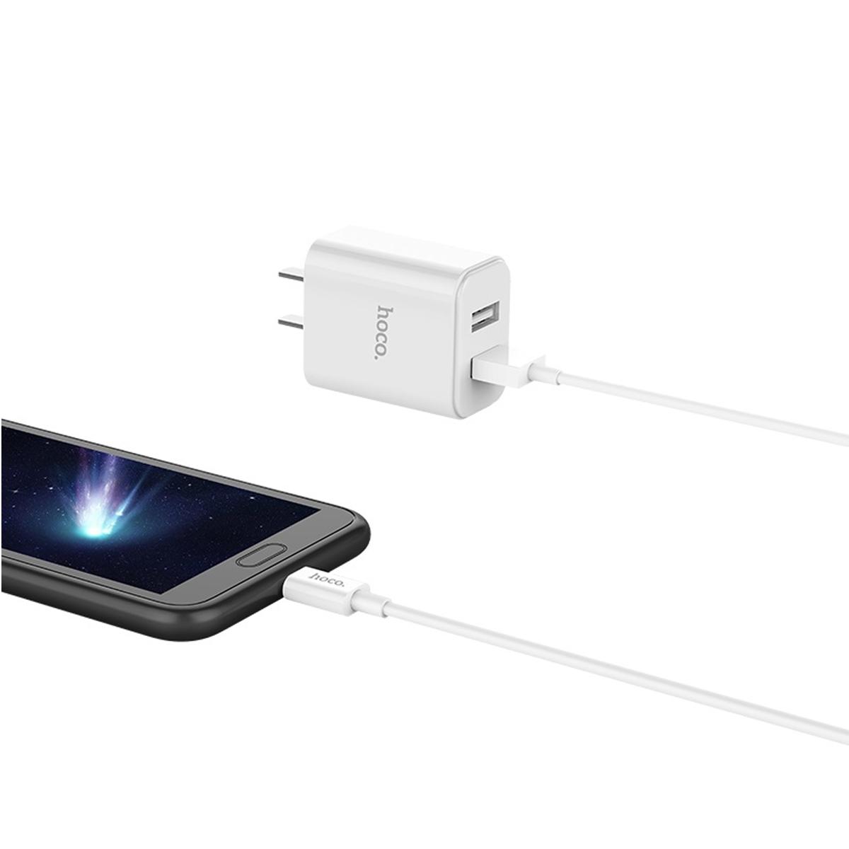 Bộ Sạc 2 Cổng USB Hoco C62 Kèm Cáp Micro - Tặng Iring Táo - Hàng Chính Hãng