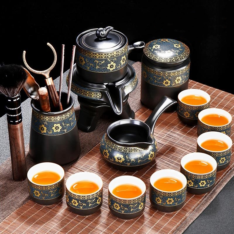 Bộ ấm chén pha trà cối xay sm005 - xanh đen trắng 14 món