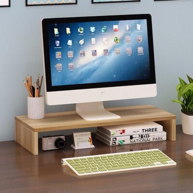Kệ gỗ thông tự nhiên dùng để màn hình máy tính đa năng và  đồ dùng làm việc kích thước 50x20x7 cm