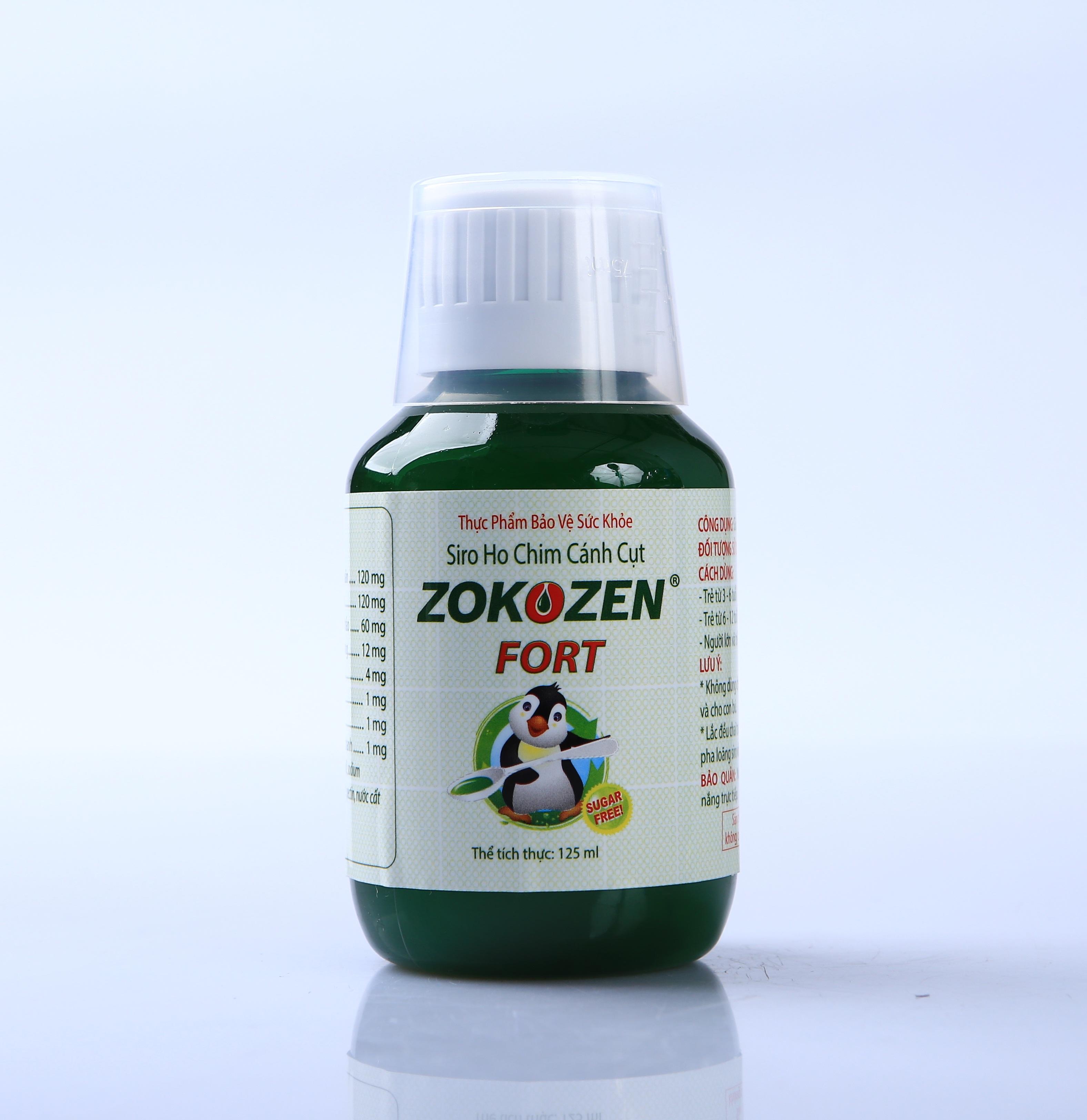 Thực phẩm chức năng Thảo dược trị ho Siro Ho Chim Cánh Cụt  ZOKOZEN FORT (Chai 125ml)
