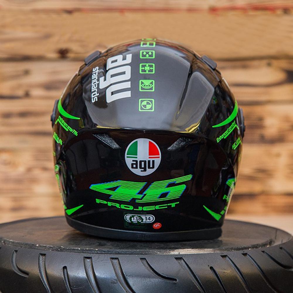 Nón Fullface Moto Phượt AGU 14 Xanh Lá Phản Quang _ Mũ Bảo Hiểm Đẹp