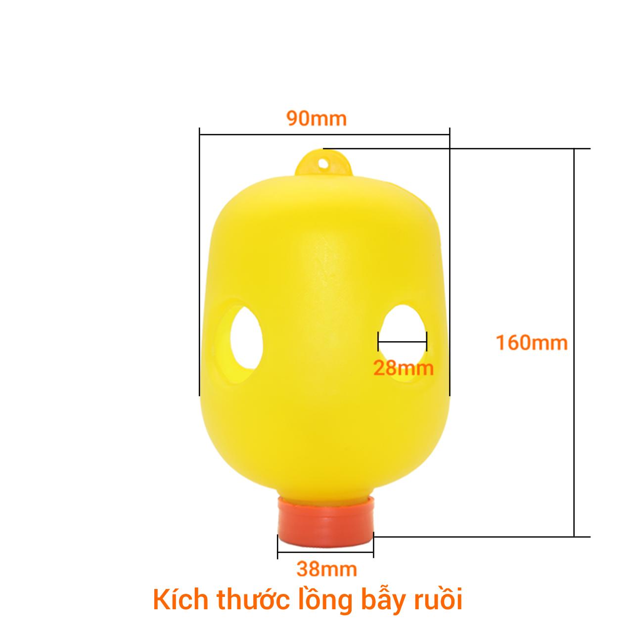 Bộ 5 Lồng dụ bẫy ruồi châm đục trái kèm 1 hộp (2 lọ) thuốc dụ diệt ruồi