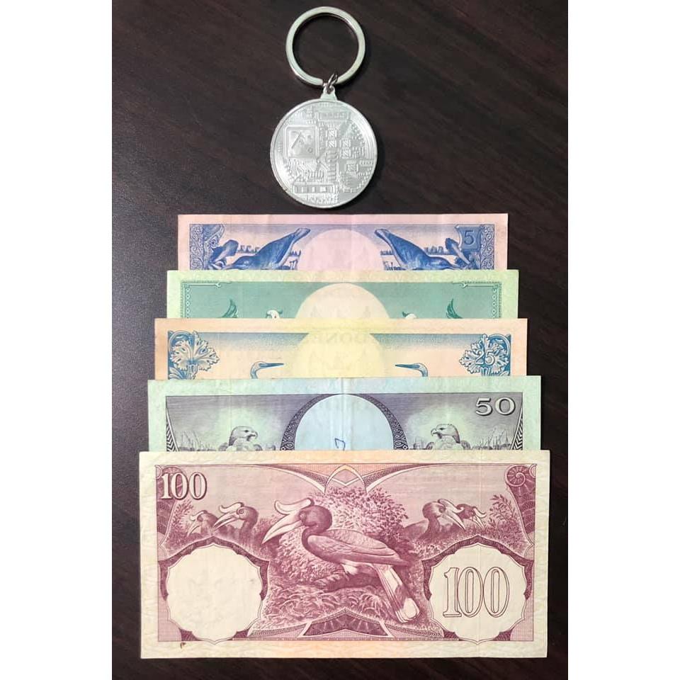 Tiền cổ thế giới, sét 5 tờ Indonesia in hình chim cực đẹp (tặng kèm móc khóa Bitcoin)