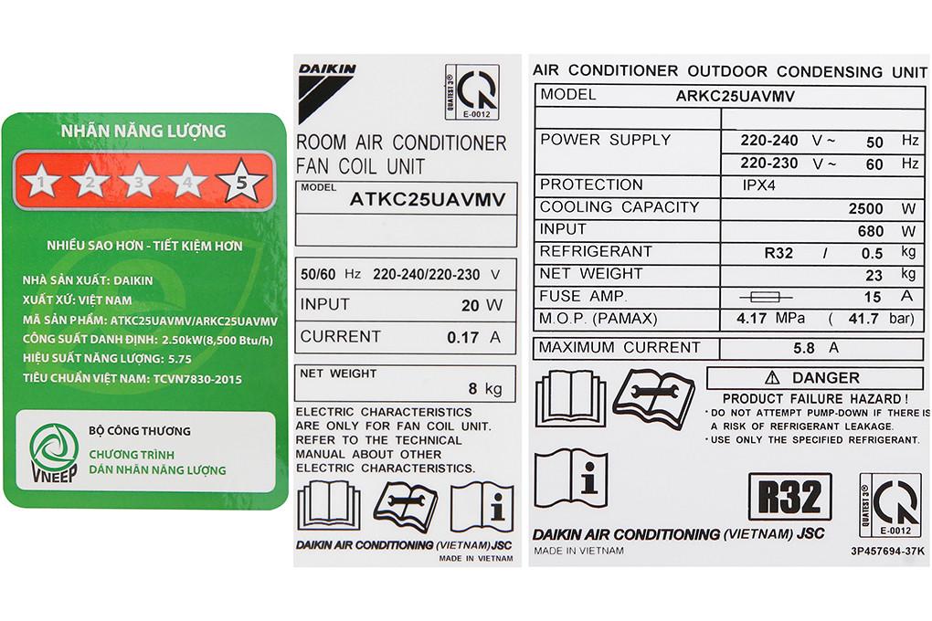 Máy lạnh Daikin Inverter 1.0 HP ATKC25UAVMV - Hàng chính hãng (chỉ giao HCM)