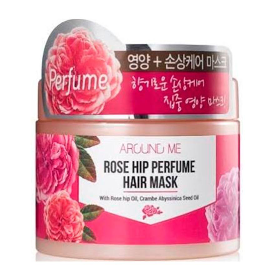 Hấp ủ tóc tinh chất hoa hồng Around Me Rose Perfume Hair Mask Hàn Quốc 300g + Móc khóa