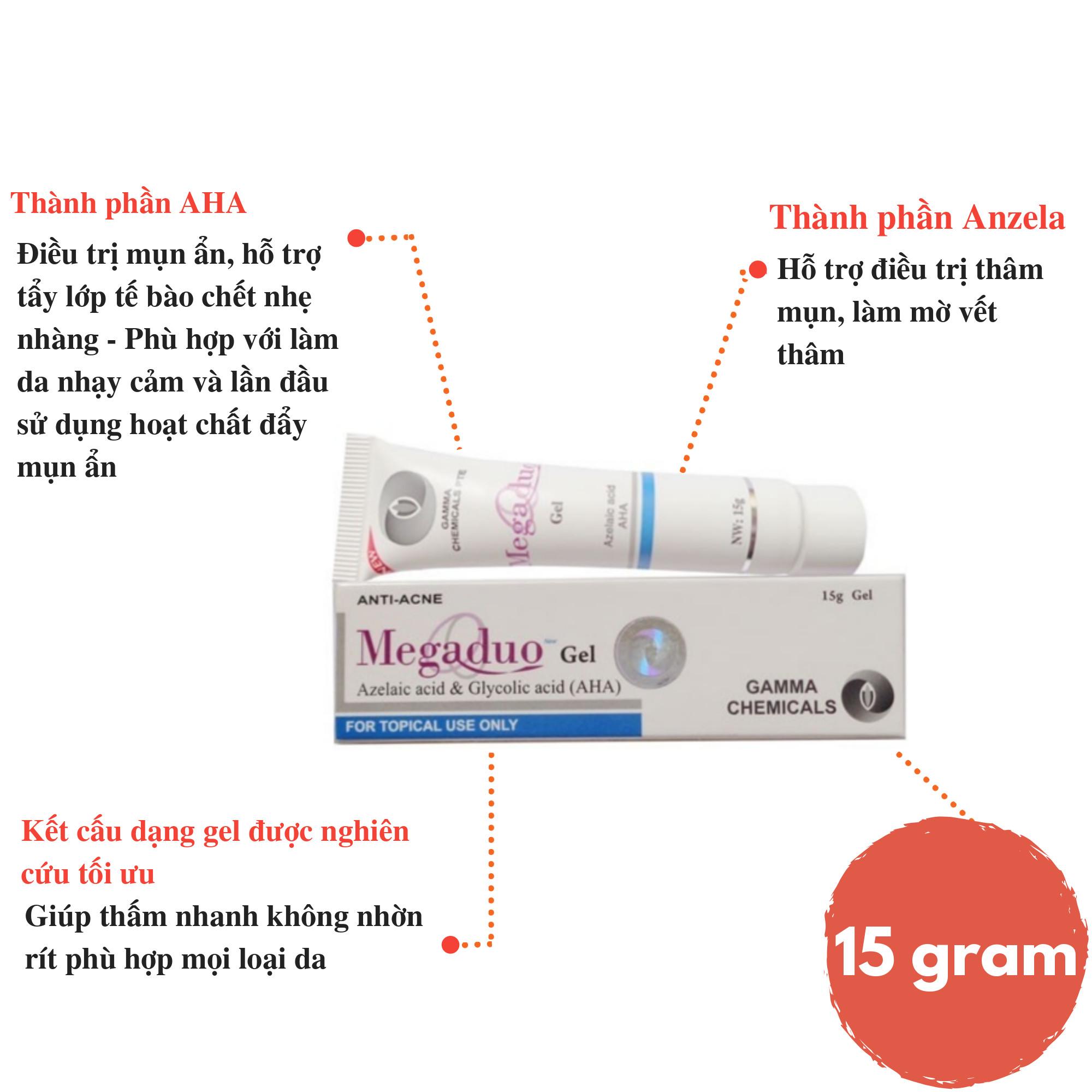 Gel ngăn ngừa mụn ẩn và thâm mụn Megaduo Gel 15 gram Tặng móc khóa