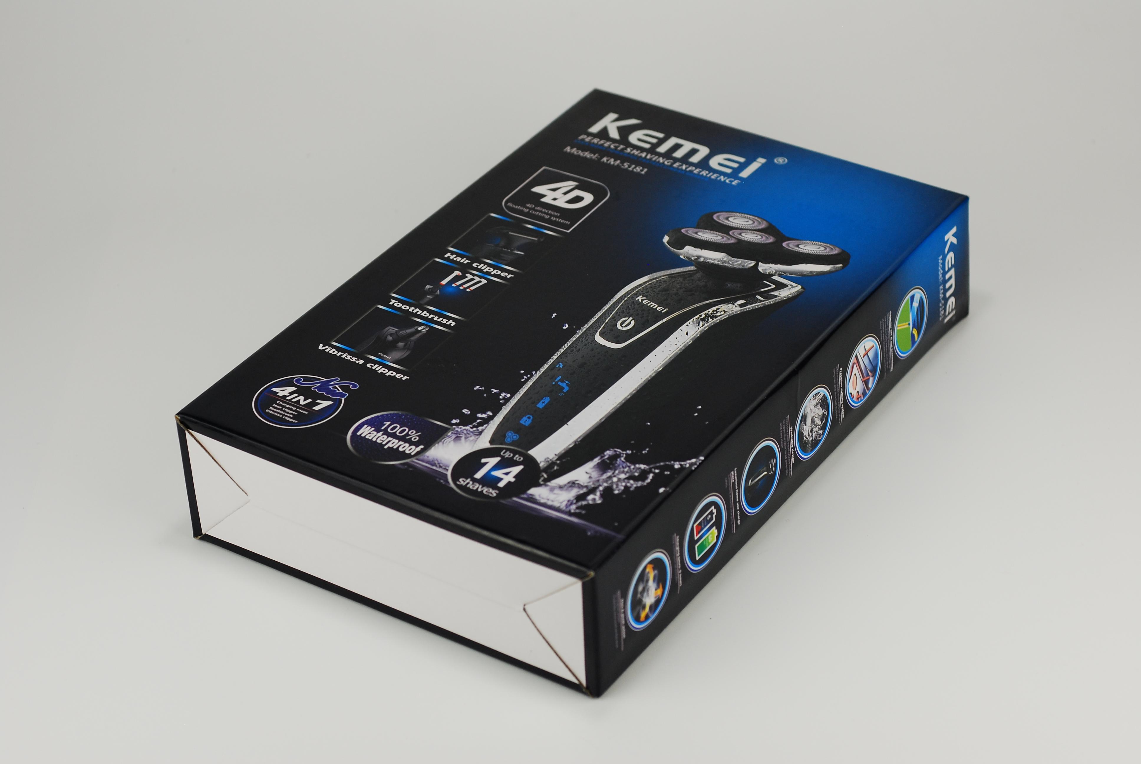 Máy cạo râu đa năng 5in1 cao câp Kemei KM-5181 có màn hình LED hiển thị chuyên dụng cạo râu, cắt tỉa tóc, tỉa ria mép, tỉa lông mũi, đánh răng chống thấm nước IPX 6 tiện lợi dễ dàng vệ sinh