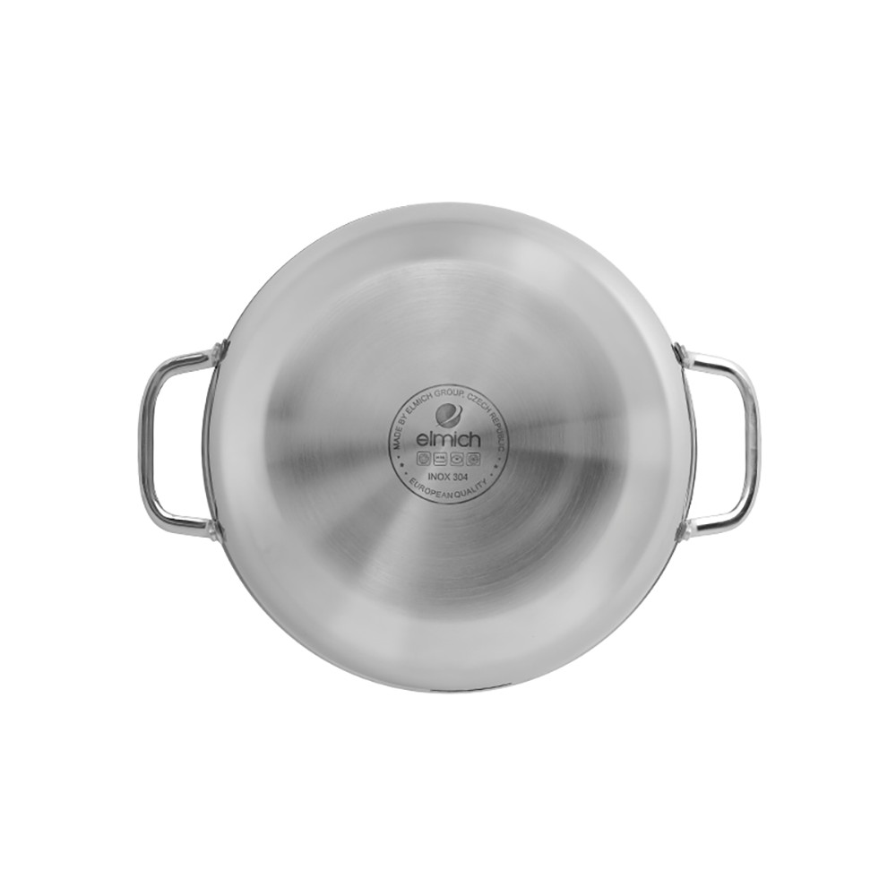 Chảo Inox 304 Cao Cấp 3 Lớp Đáy Liền Elmich Tri-Max EL-3797 Size 28cm kèm vung kính - Hàng chính hãng