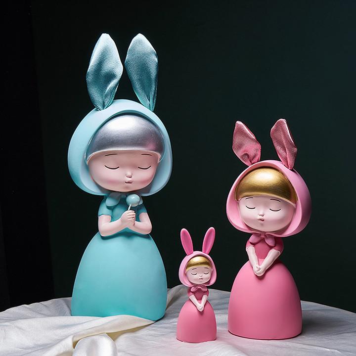 Bộ 3 Tượng Cô Gái Dễ Thương - Đồ Decor Để Bàn Trang Trí Kệ Tủ Phòng Khách Đẹp - Quà Tặng Sinh Nhật
