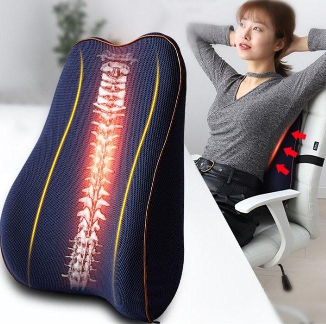 Gối Tựa Lưng Ghế Văn Phòng Ghế Ô Tô Vỏ Bằng Vải Lưới Có Đai Cài Và Viền Sang Trọng Backrest Pillow