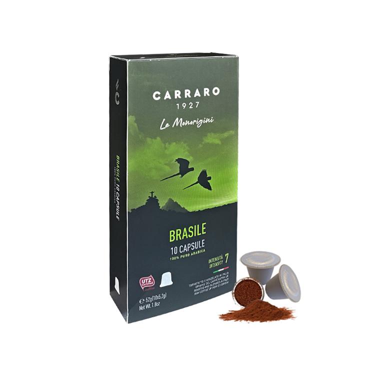 [Bao bì mới] Cà phê viên nén Carraro Single Origin Brasile - Nhập khẩu chính hãng 100% từ thương hiệu Carraro, Ý tương thích hệ thống nespresso