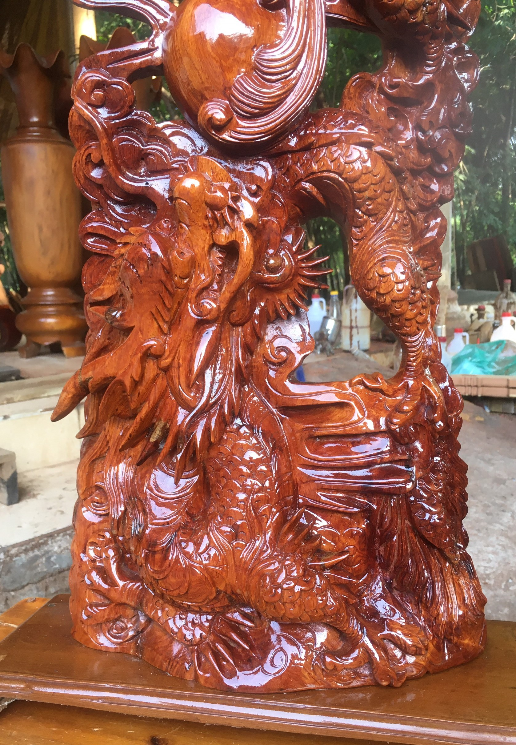 Tượng Song long - 2 con rồng - gỗ Hương Gia Lai cao 84cm