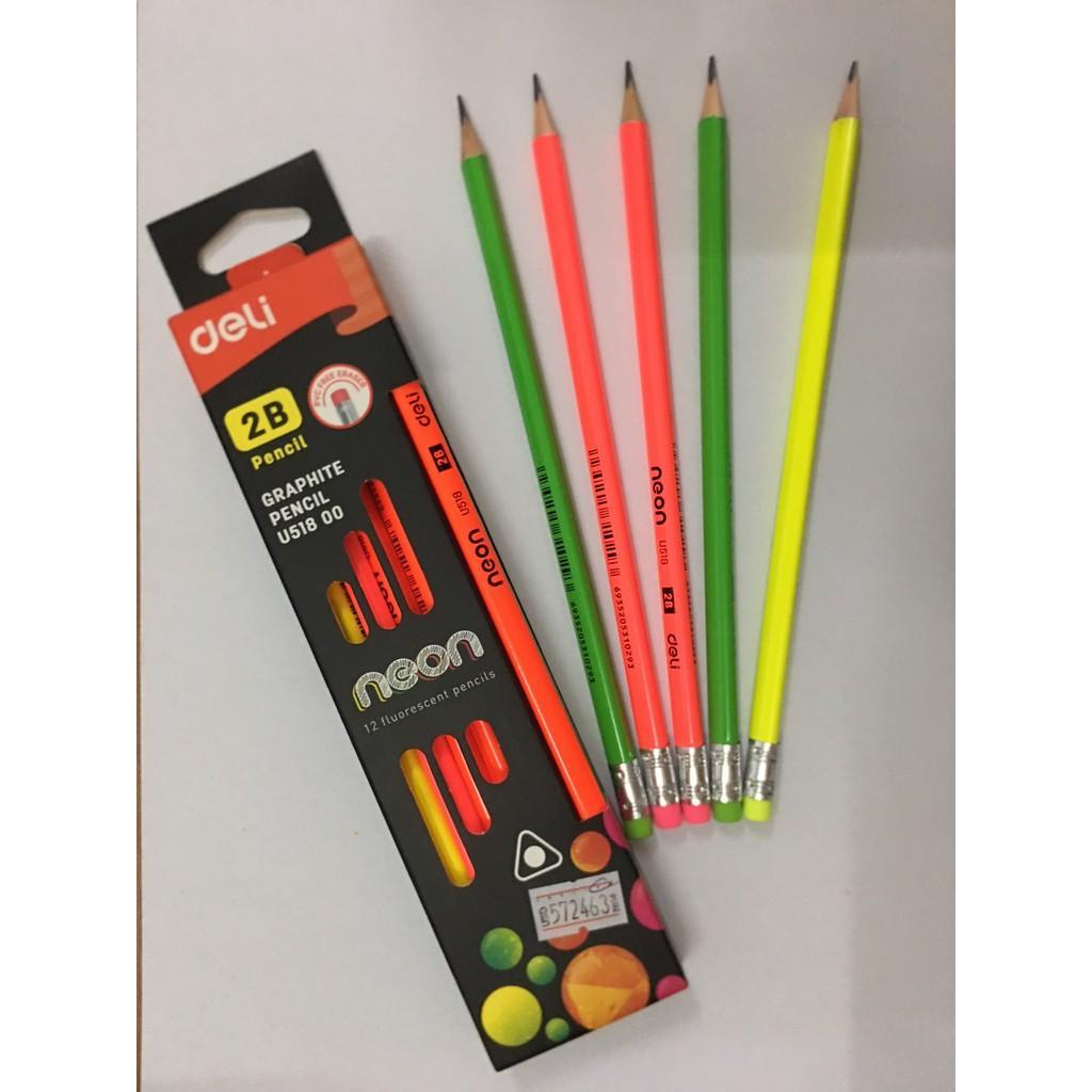 Bút chì 2B Deli Neon U51800 (1hộp/12 cây)