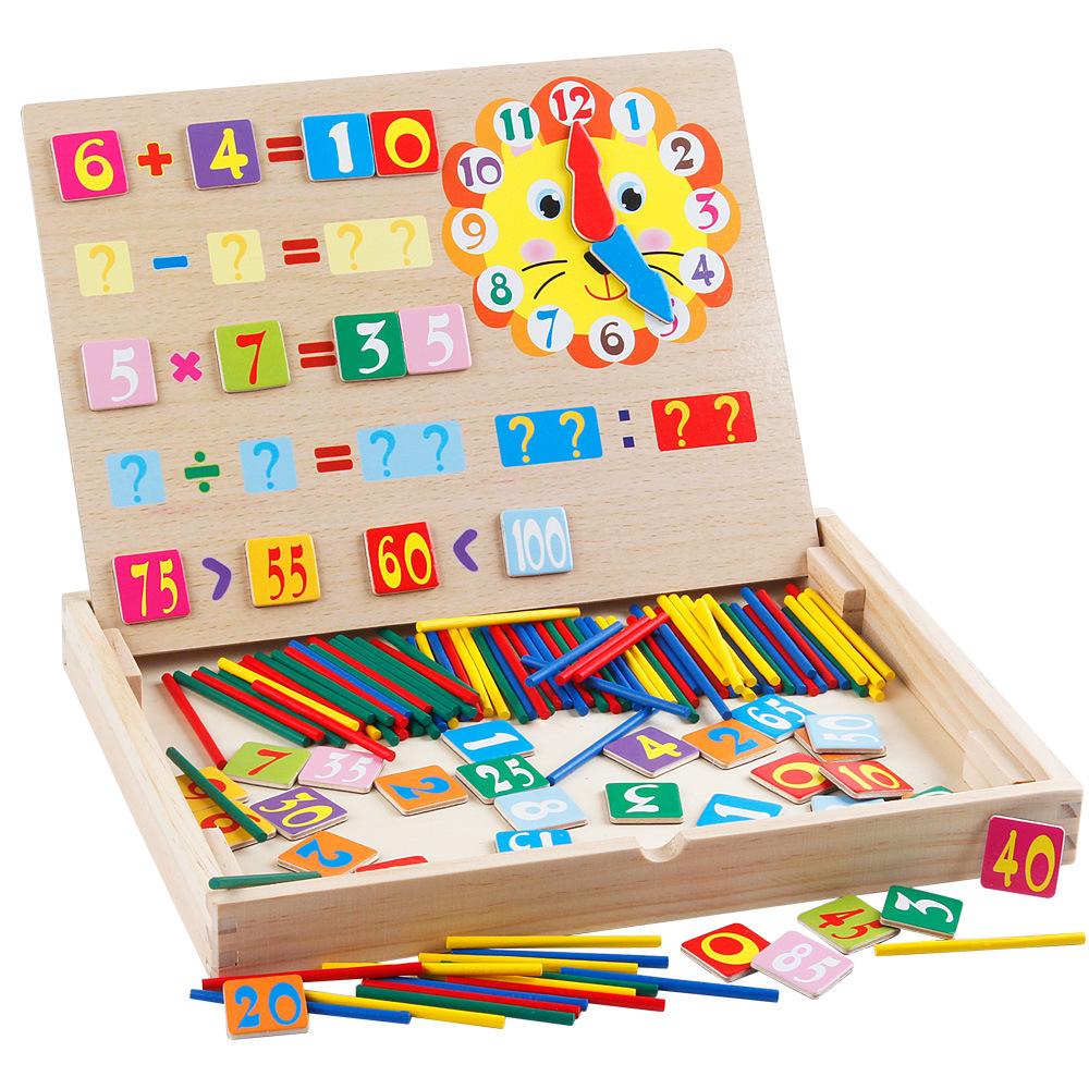 Hộp que tính học toán đồ chơi gỗ giáo dục cho bé