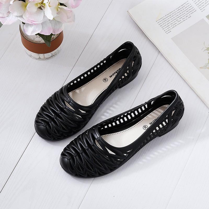 Giày Bệt Nhựa Nữ,Giày Búp Bê Công Sở Thoáng Nhẹ Êm,Cao Su Chống Nước Đi Mưa Đi Biển