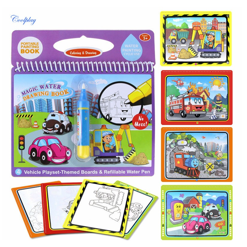 Sổ Lò Xo Magic Water Drawing Book Cho Trẻ - Mẫu Vehicle