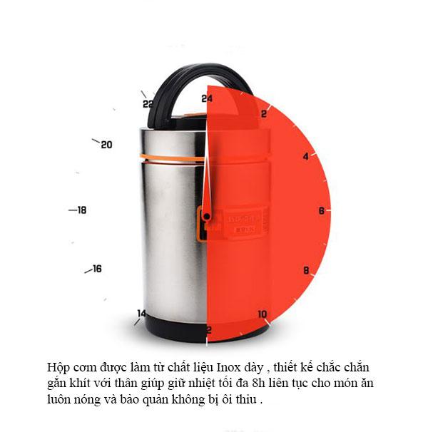 CaMen Hộp Đựng Cơm Inox 304 1900Ml 3 ngăn Chống Tràn Đổ Giữ Nhiệt Trên 6H