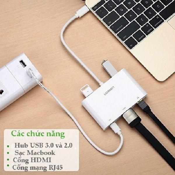 Cáp chuyển đổi đa chức năng USB Type C sang VGA + Hub USB 3.0 và USB2.0 hỗ trợ cổng Lan 10/100Mbps cao cấp UGREEN US182 30439 - Hàng Chính Hãng