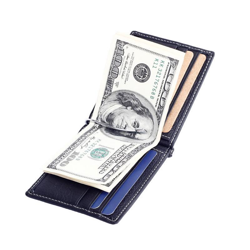 Ví kẹp tiền nam làm bằng da bò thật 100% có vị trí để thẻ card và tiền xu