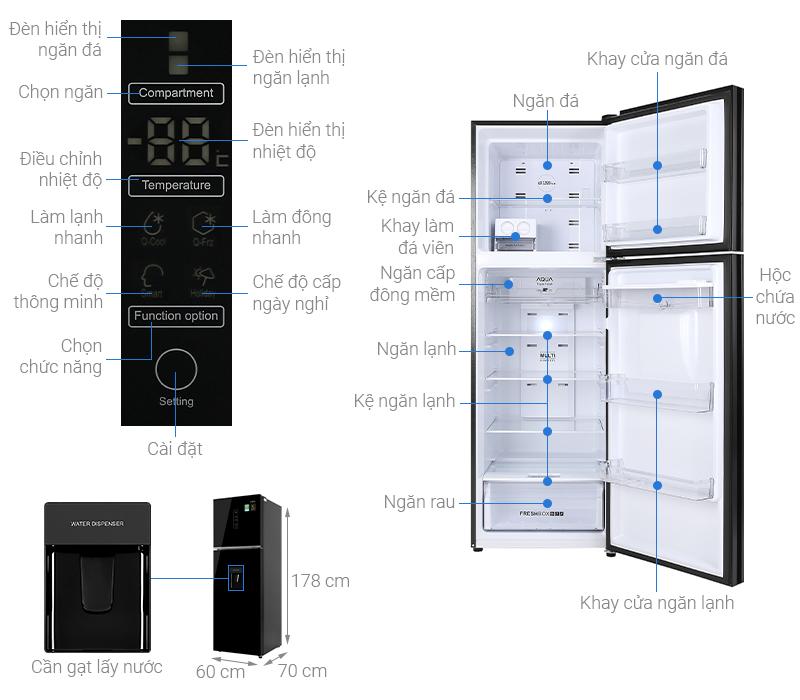 Tủ lạnh Aqua AQR-T389FA(WGB) 373L, inverter, màu đen, Hàng chính hãng , chỉ giao tại Hà Nội