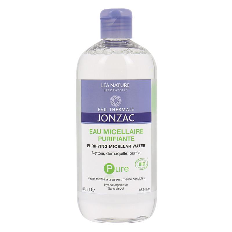 Nước tẩy trang cho da dầu, mụn Eau Thermale Jonzac Pure Purfiante Eau Micellar Water 500ml + Tặng Túi Bông tẩy trang Ipek 80 miếng