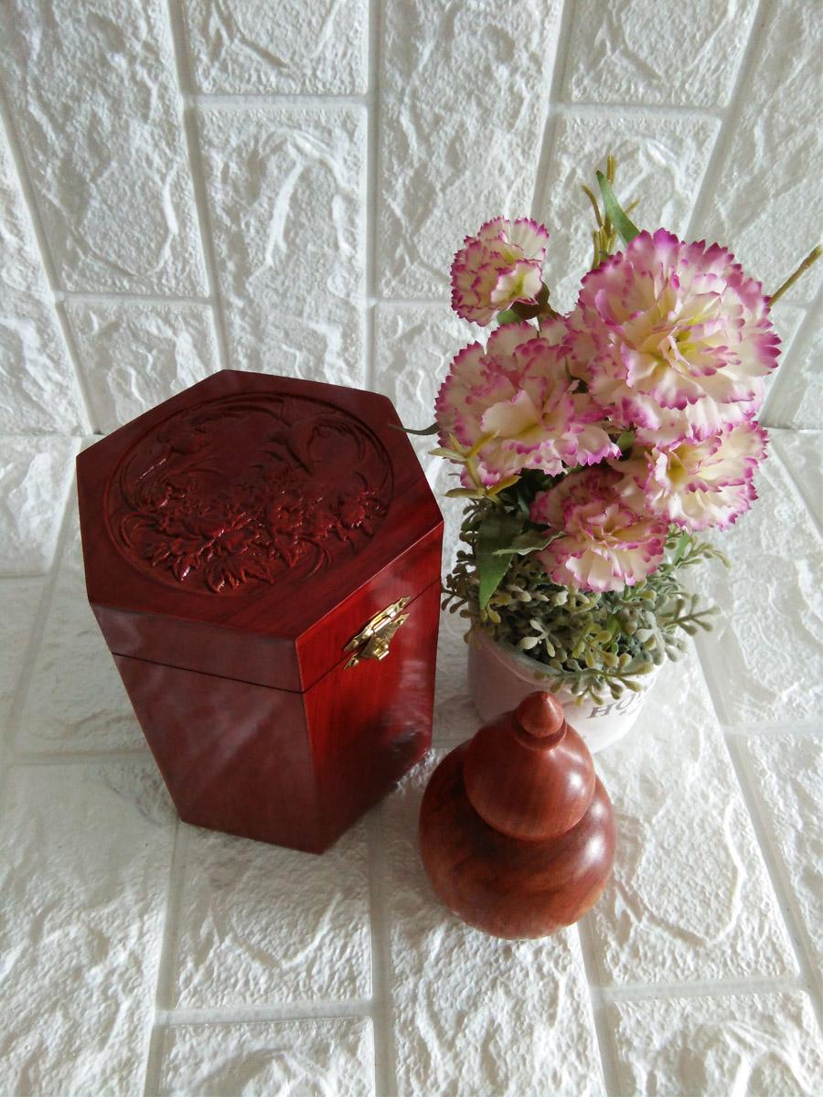 Hộp đựng gói trà gỗ hương trạm mặt tích chim hoa kèm hộp tăm khối tiện hồ lô - CHTHL12