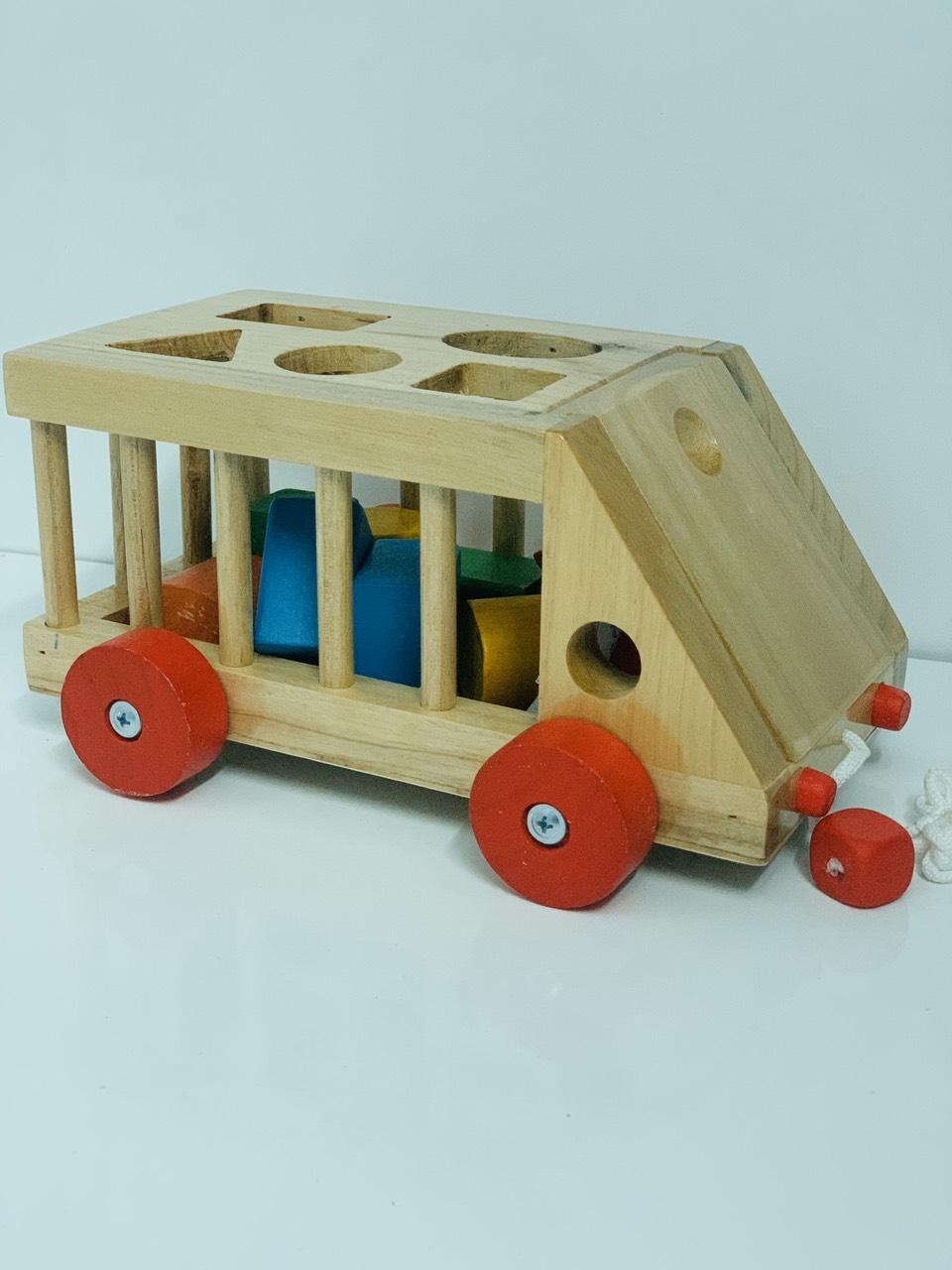 Đồ chơi thả khối hình xe ô tô  bằng gỗ an toàn cho bé