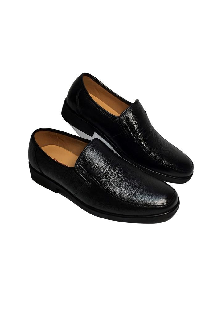Giày lười nam da bò thật Happyshoes, đế khâu chất liệu cao su ép nhiệt chắc chắn có rãnh chống trượt an toàn -HS64