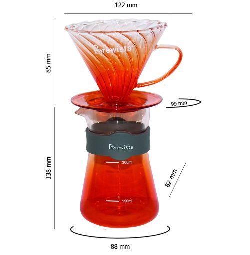 Bộ phễu V60 pha cà phê pour over thủy tinh Brewista Tornado Dripper & Server - Màu cam