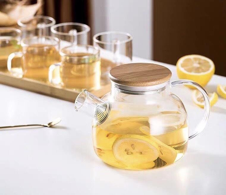 Bộ bình trà thủy tinh nắp gỗ  6 cốc kèm khay tre - ANTH591