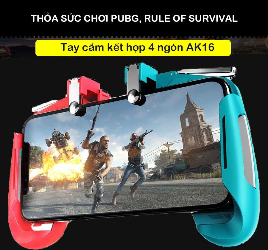 Tay cầm chơi game PUBG, Rules Of Survival, Apex Legend kèm nút bắn Gpoint cơ kim loại Promax AK16 - Thiết kế 2 màu cho sự phá cách