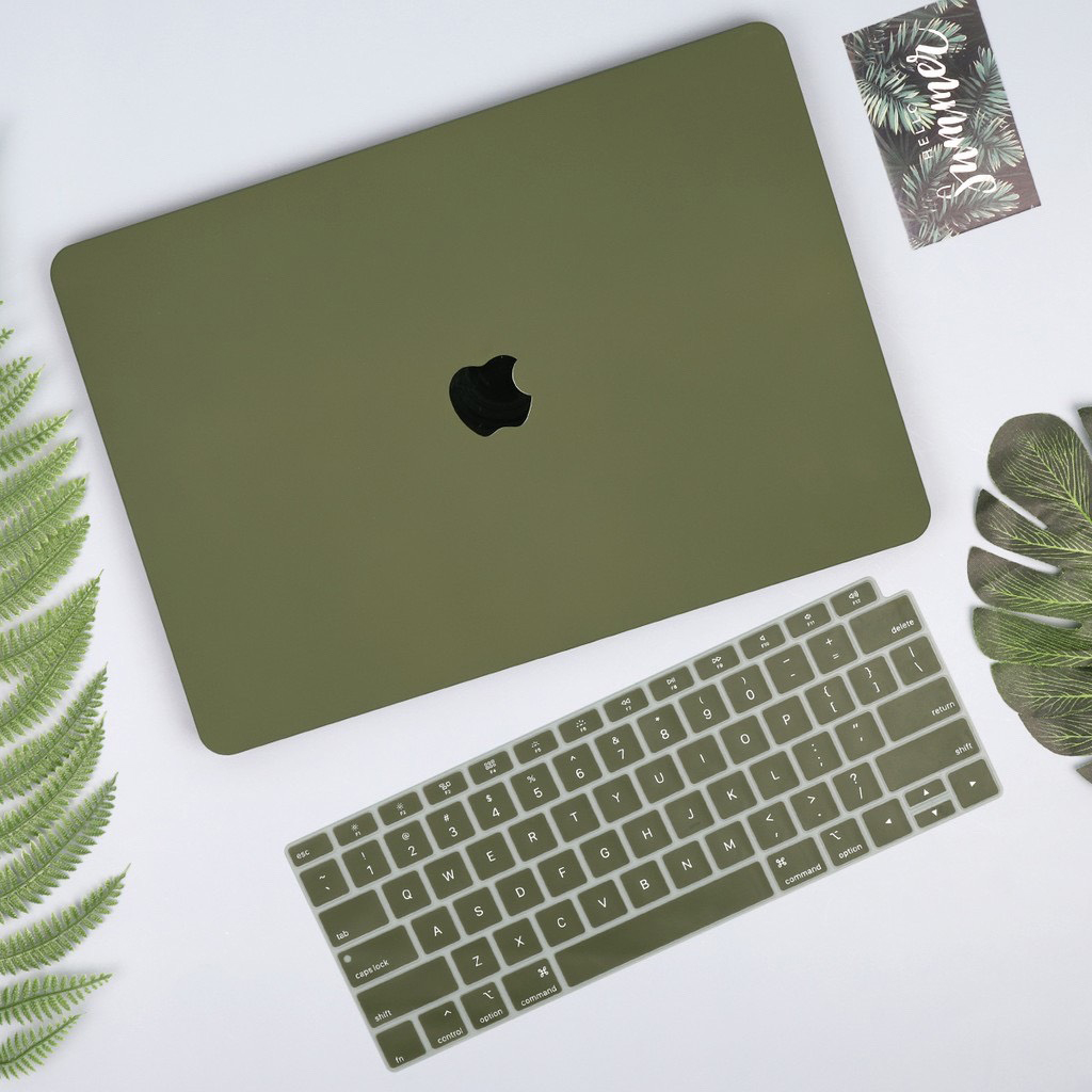 Case ốp nhựa cho Macbook màu xanh rêu - Hàng chính hãng