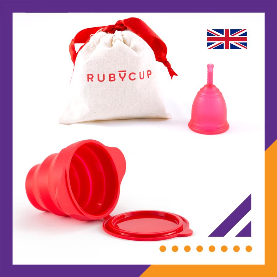 Combo cốc nguyệt san Ruby cup kèm cốc tiệt trùng Ruby clean (màu Đỏ) - Hàng chính hãng