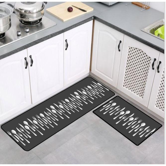 Bộ 2 Thảm Bếp chùi chân, thảm trải sàn chống trượt cho nhà Bếp, phòng khách Đẹp