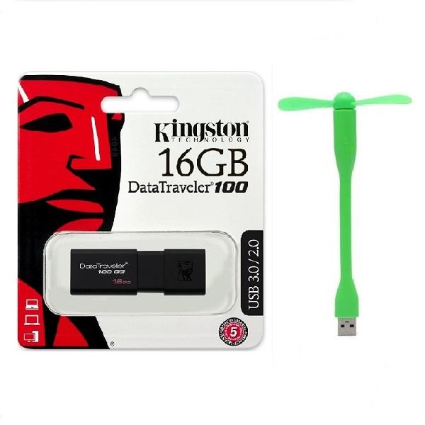 USB 3.0 16gb Kingston DT100G3 - Hàng Chính Hãng + Tặng quạt USB 2 cánh