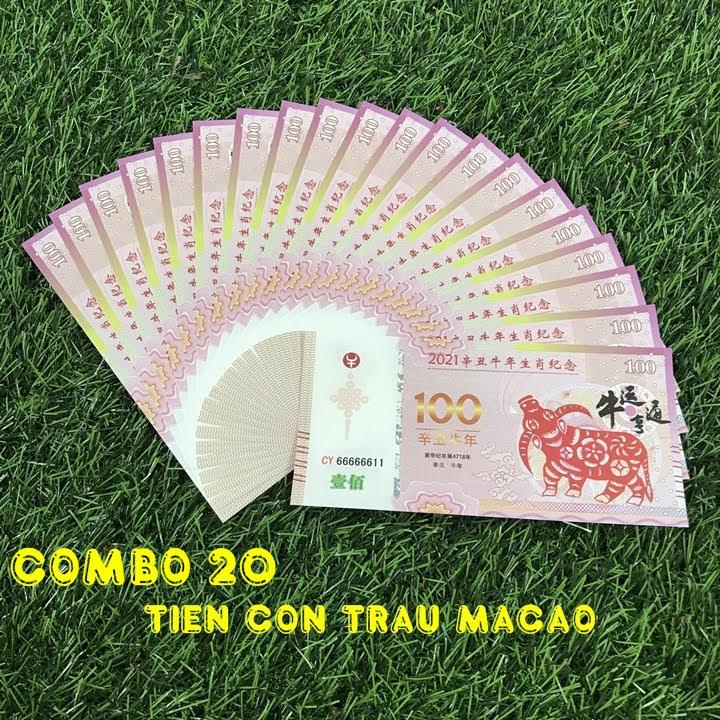 Combo 20 tờ lưu niệm 100 dola Macao hình con Trâu, dùng để sưu tầm, lưu niệm, làm tiền lì xì độc lạ, may mắn, ý nghĩa