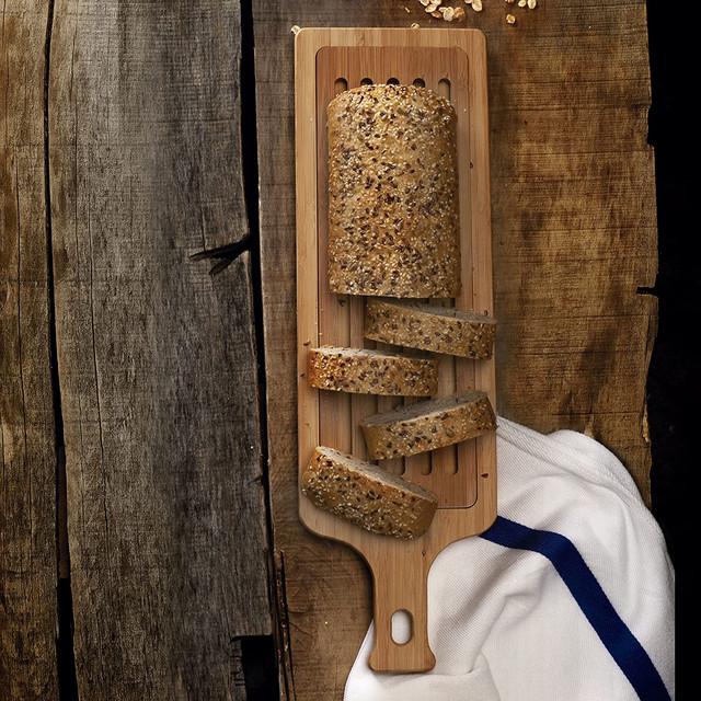 Thớt Tre Cắt Bánh Mì Lacor Có Tay Cầm 50x15x2cm