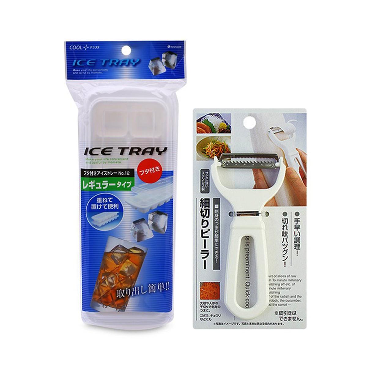 Combo Khay đá dễ lấy chống ám mùi tủ lạnh + cây nạo củ - Hàng nội địa Nhật