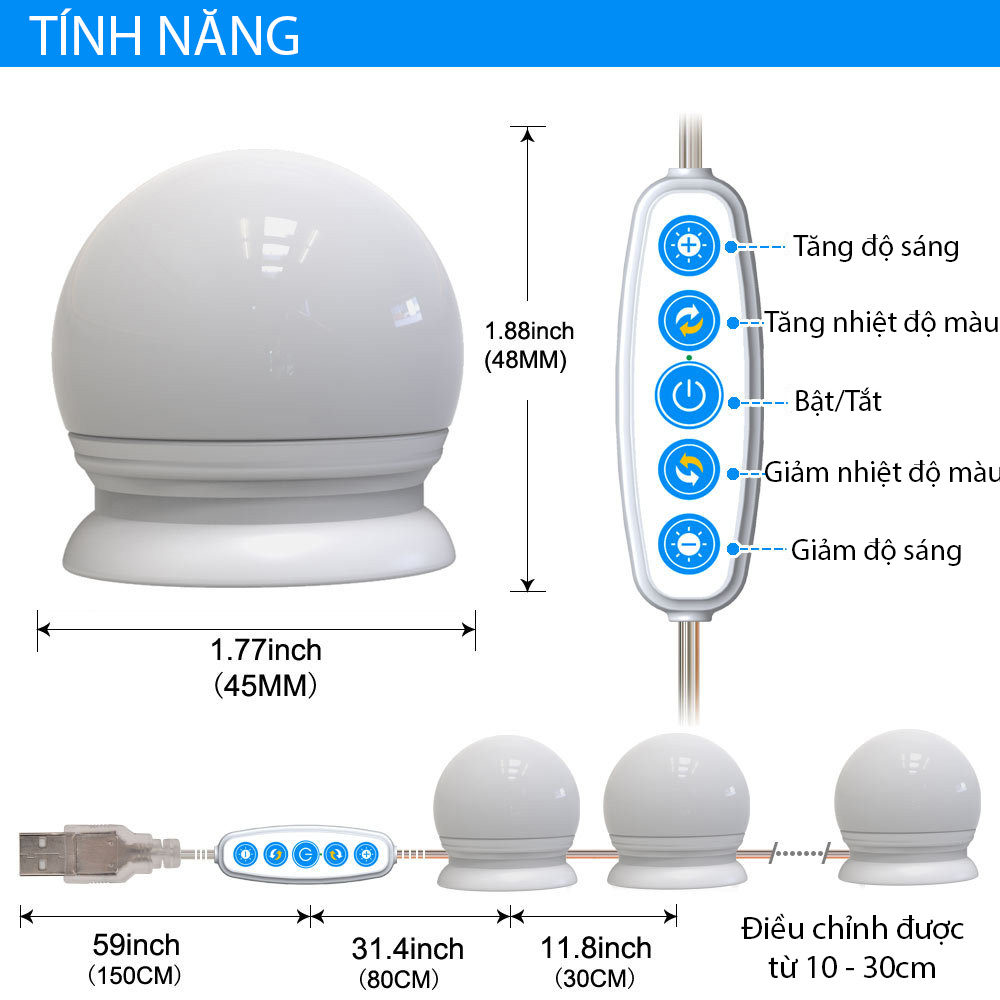 Dây Đèn LED Bàn Trang Điểm 5 Chế Độ Sáng Dài 4.5 Mét