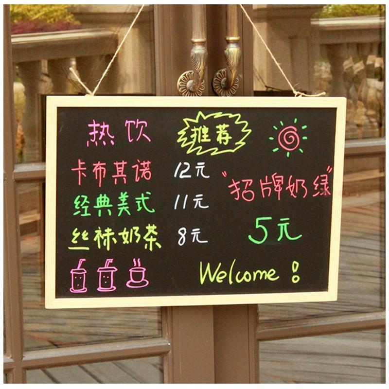 Bảng đen viết phấn, bảng menu cafe khung gỗ GU DECOR bảng học cho bé có dây treo