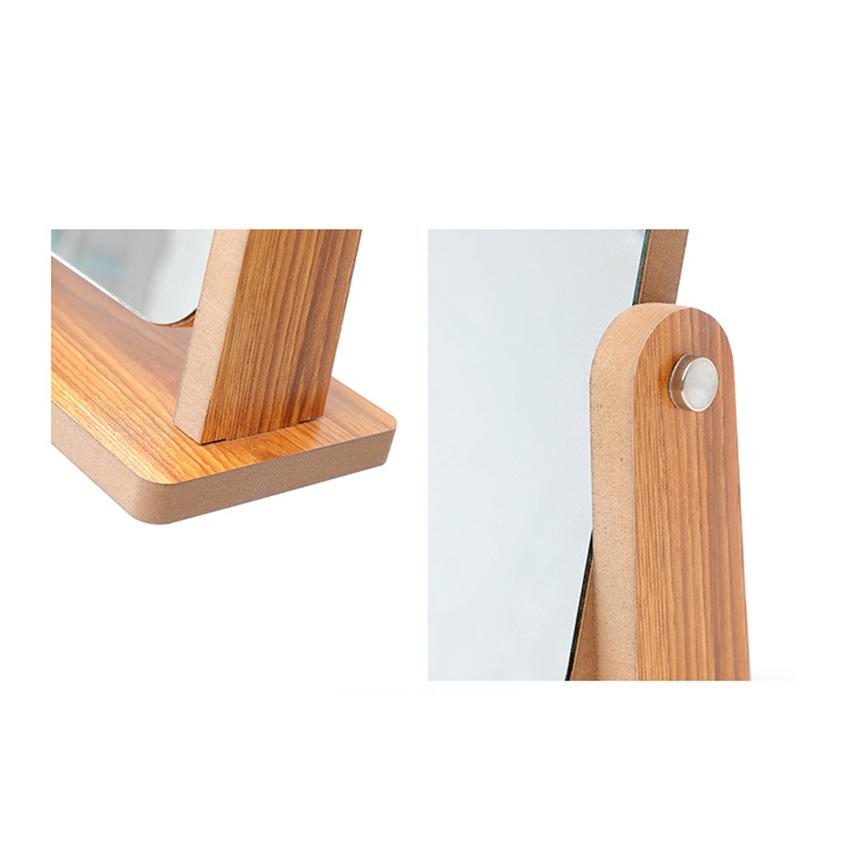 Gương trang điểm để bàn decor mini 13x18cm, xoay 360 độ, chất liệu gỗ ép thân thiện, sang trọng