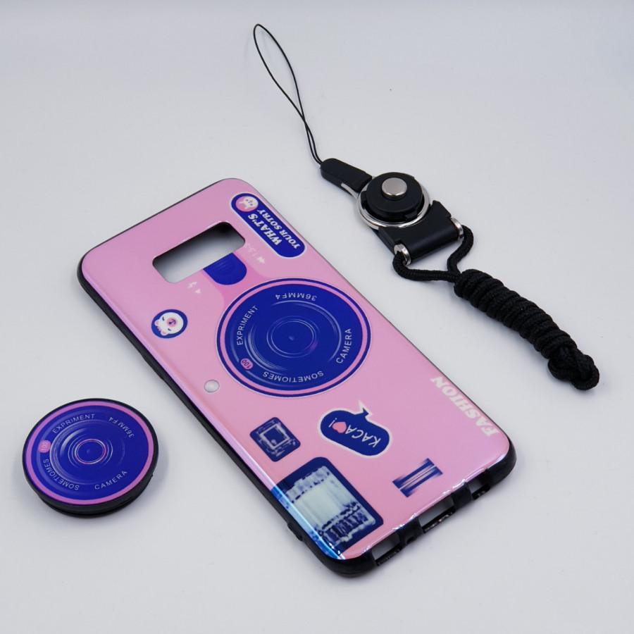 Ốp lưng hình máy ảnh kèm giá đỡ và dây đeo dành cho Samsung Galaxy S7,S7 Edge,S8,S8 Plus,S9,S9 Plus,S10,S10 Plus - Samsung Galaxy S8 Plus - Hồng